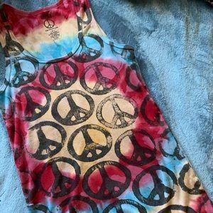Lucky Brand🍀 Tie Dye Peace Sign✌🏼☮️ Tank❤️💛💙